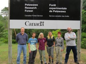 The PRF team: Dr Paul Treitz (Queen's), Joe Rakofsky (McGill), Karin van Ewijk (Queen's), Stacey Leson (UBC), Rachel Perron (UQAM) and Jean-François Prieur (Sherbrooke U./UQAM) (left to right). (Photo: Rachel Perron)